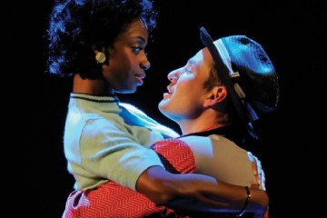 Montego Glover (as Felicia) and Chad Kimball (as Huey Calhoun) in Memphis at La Jolla Playhouse