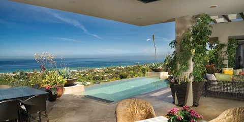 The couple likes to entertain on the terrace with its dazzling view of La Jolla Shores