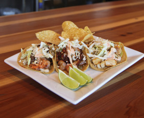 California; Shrimp, Bacon, Chorizo; and Wahoo tacos from Bull Taco